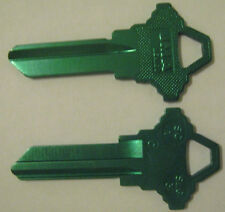 2 GREEN BLANK HOUSE KEYS FOR SCHLAGE LOCKS SC1 CAN BE PUNCHED TO YOUR CODE