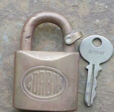 Antique Solid Brass Corbin Padlock and Original Key