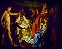 The Judgment of Solomon by Dutch  Matthias Stom. Canvas History. 11x14 Print