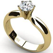 Good Cut Solitaire Yellow Gold VS1 Fine Diamond Rings