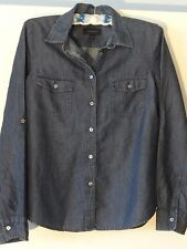 Talbots Denim Look Blouse Misses 14 Cotton Blend Denim Blue Pockets MINT