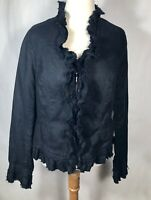 INC International Concepts Woman's Size L Black 100% Linen Ruffle Zip Blazer Top