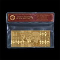WR Mexico 1000 Pesos Gold Foil Banknote In PVC Sleeve For Father's Day Gifts