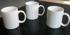 "Set of 3 Ceramic Coffee / Tea Mugs; White with Handles; 3.75"" Tall;Hot Beverage"