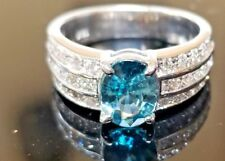 Bright Blue Zircon Diamond 18k white gold ring/band
