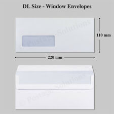 100 DL Envelopes White Window 90gsm 220mm x 110mm Self Seal Office Letter Pack