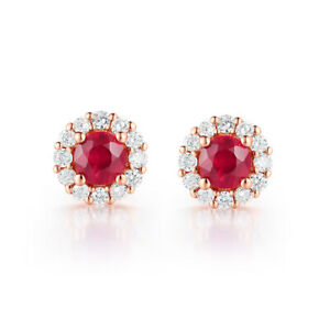 Ruby Round 3.3mm Natural Diamond Earrings Solid 14K Rose Gold Luxurious Generous