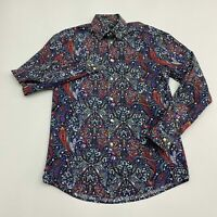H&M Button Up Shirt Men's Size Small Long Sleeve Gray Floral Paisley Cotton