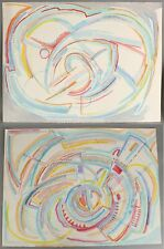 2 Authentic FREDERIC M FAILLACE American Abstract Modernist Watercolor Paintings
