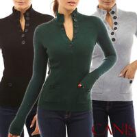 Women Long-Sleeve Blouse Turtleneck Casual Slim Tops Knit Sweater Button T-shirt