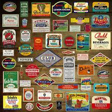 50 Vintage GROCERY, LIQUOR & DIME STORE LABELS: Original Unused EPHEMERA (D10)