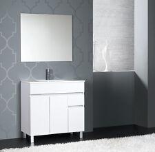 Mobile Bagno moderno design lavabo cm 80 in ceramica bianco lucido specchiera