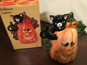 """8"""" Ceramic Halloween Lantern, Cat with Pumpkin, in box, candle not included."""