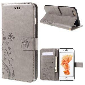 """Apple iPhone 6 6S 4.7"""" Flip Handy Tasche Schmetterling Blumen Muster Etui Grau"""