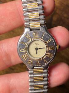 Cartier Lady Must De 21 No Tank Santos Basculante Americaine Steel Gold Vintage