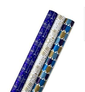Hallmark Tree of Life Hanukkah Wrapping Paper Bundle W/ Cut Lines on Reverse,