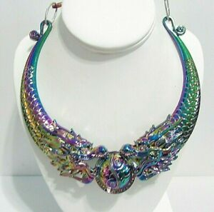 DOUBLE HEADED DRAGON WITH BALL IN IT'S MOUTH HUGE COLLAR NECKLACE CONTEMPORARY