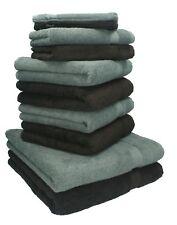 """10-Pcs. Juego toallas """"Premium"""", de color marrón oscuro y antracita,2 toallas de"""