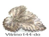 alte Brosche BLATT versilbert Modeschmuck vintage brooch broche