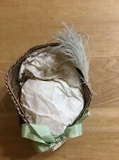 Lovely Old 2 Tone Green And Taupe Doll Bonnet With Feather Accent
