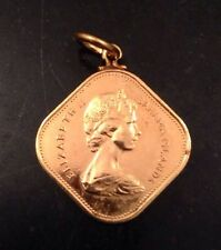 Elizabeth Bahama Islands 1969 Fifteen Cents Gold Plate Square Coin Charm Pendant
