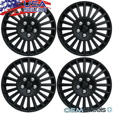 "4 NEW OEM MATTE BLACK 15"" HUB CAPS FITS CHRYSLER CENTER WHEEL COVERS SET"