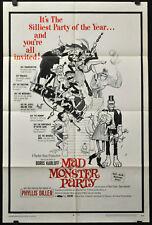 MAD MONSTER PARTY 1968 ORIG 27X41 MOVIE POSTER BORIS KARLOFF PHYLLIS DILLER