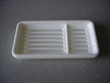 Rectangular White Plastic Basket Soap Tray Dish Holder in Bath or Traveling. NEW