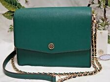 NWT TORY BURCH ROBINSON CONVERTIBLE Shoulder Crossbody Bag In MALACHITE Leather