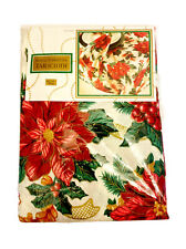 "Vintage ROYAL POINSETTIA Oblong Tablecloth-60"" x 104""-New/Sealed-Christmas Decor"