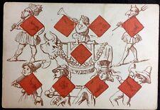 c1850 Nine of Diamonds Historic Transformation Playing Cards French XIXc Single