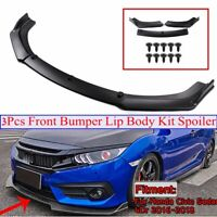 Matte Black Front Bumper Lip Spoiler Wing Body Kit For Honda Civic Sedan 16-20