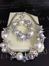 Luxurious Designer Pearl & Diamante Chunky Necklace & Bracelet Set Gift Packaged