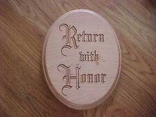 """NEW Laser Engraved Wood """"Return With Honor"""" LDS/Mormon Missionary Plaque/Sign"""