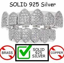 Real Solid 925 Silver Iced Diamond Custom Grillz Teeth Top & Bottom Set Hip Hop