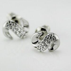 New Women 18K White Gold Plated Inlay Crystal Letter S Stud Earrings Lovely Gift