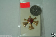 Gold with Red Enamel CHIEF Triple Crossed Bugle badge pin
