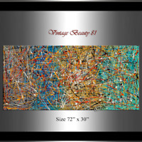 Vintage Beauty 81 - Jackson Pollock style Drip Art Red Teal Painting extra large