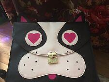 Betsey Johnson Black Kitchi Cat Clutch Purse Shoulder Bag 3D Ears  Heart eyes