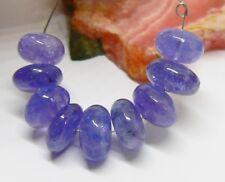 9 Grande Transluciente Morado Azul Tanzanita Cuentas 25.5cts 4.1cm hilos