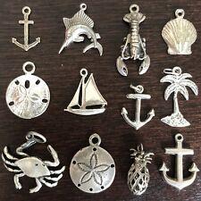 Sterling Silver Beach Nautical Bracelet Charm Lot Anchor Sea Shell Crab Marlin +