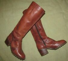 Vintage 1980s Reddish Brown leather knee high boots with textured soles 8B 8 B