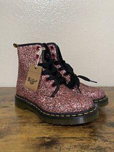 Dr. Martens 1460 Farrah Pink Glitter Leather Combat Boots Womens Sz 9