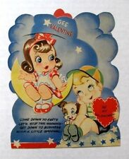 1920s Mechanical Valentine's Day Card Girl Sitting on the Moon