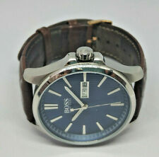 Mens Hugo Boss Blue Dial Brown Leather Strap Date Watch HB.301.1.14.2968