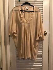 DVF Fleurette Dolman Kaftan Tunic Silk Chiffon Dress-Tan 2