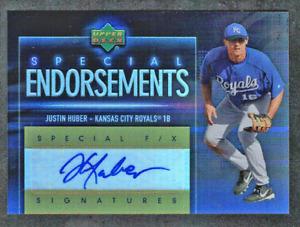 2006 UD Special F/X Autograph RC Justin Huber Kansas City Royals Endorsements