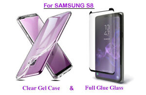 For Samsung Galaxy S8 TPU Clear Gel Back Case & Full Glue Tempered Glass Cover