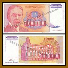 UNC CONDITION YUGOSLAVIA 50000000 DINARA 1993  P 123 4RW 09MAR