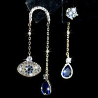18k yellow gold made with SWAROVSKI crystal blue eye stud unbalanced earrings
